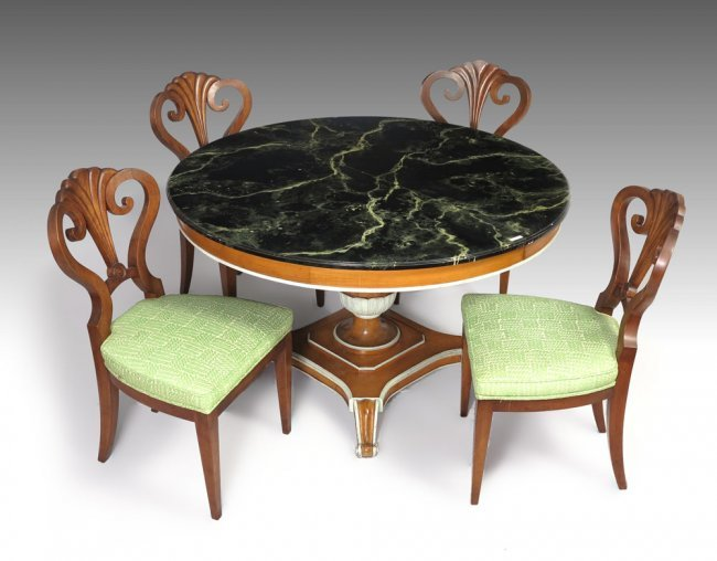 176 ITALIAN FAUX MARBLE TOP DINING TABLE amp CHAIRS Lot 176 : 123023671l from liveauctioneers.com size 650 x 508 jpeg 49kB