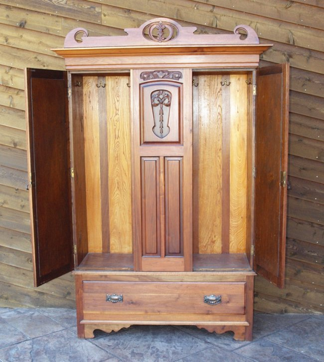 art nouveau walnut armoire 7 ft tall lot 245b. Black Bedroom Furniture Sets. Home Design Ideas