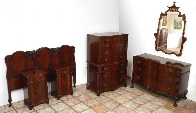 Chinese Chippendale Bed : CHINESE CHIPPENDALE STYLE MAHOGANY BEDROOM SET : Lot 51