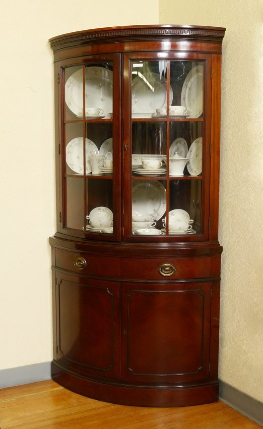 Pair Drexel Travis Court Mahogany Corner Cabinets Lot 217