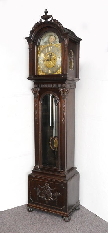 COLONIAL 9 TUBE GRANDFATHER CLOCK : Lot 1060