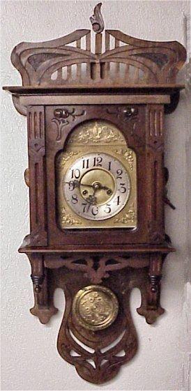 Wall Clock Art Nouveau : Gustav becker signed art nouveau wall clock lot