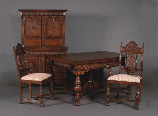 oak dining room suites   393: A Jacobean Revival Oak Dining Room Suite, : Lot 393