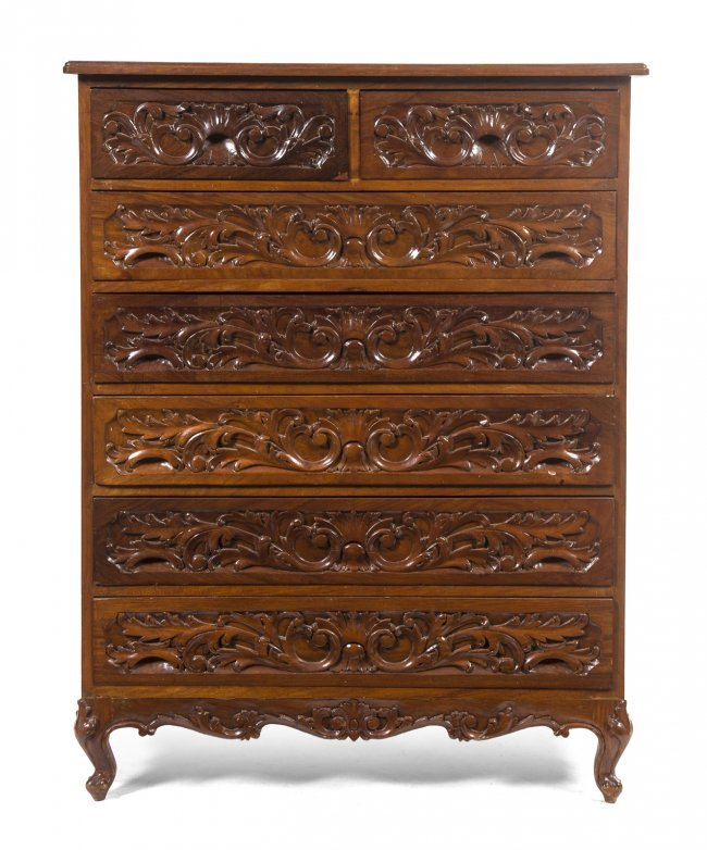 Carved Tables Philippines: 2078: A Philippines Carved Mahogany Bedroom Suite, Heig