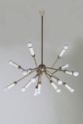 altezza lampadario : UN LAMPADARIO, anni 50. Ottone, alluminio : Lot 1239
