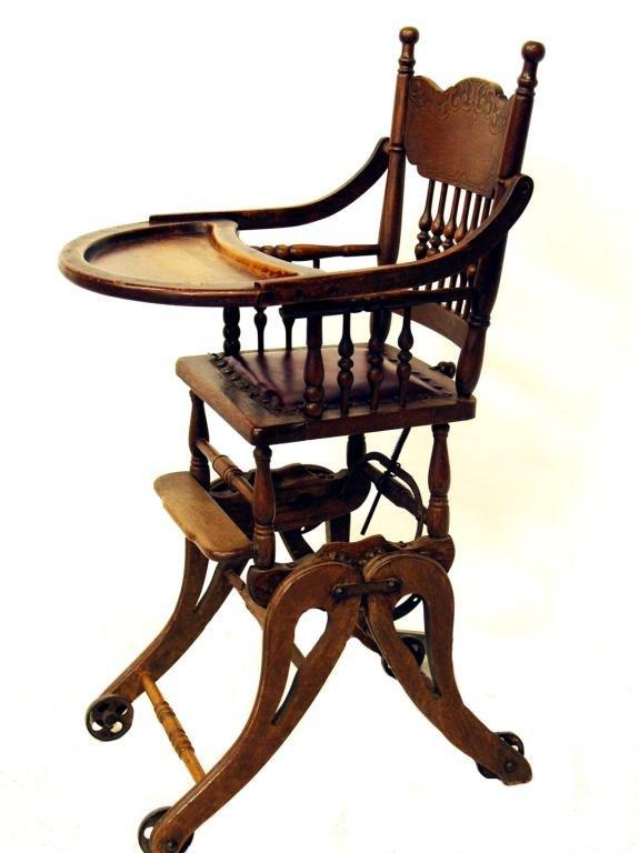 969 antique oak pressed back child high chair stroller
