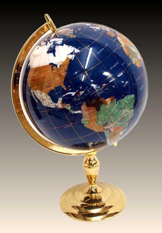 gemstone table globe lapis agate of pearl lot 311