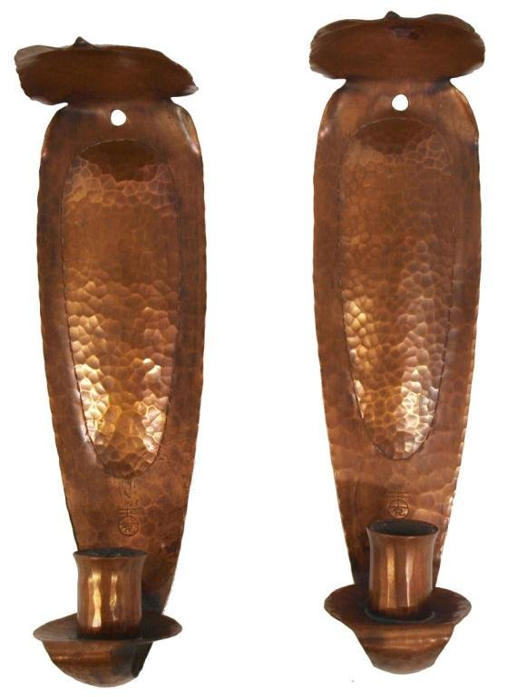 PAIR ROYCROFT HAMMERED COPPER WALL SCONCES : Lot 106
