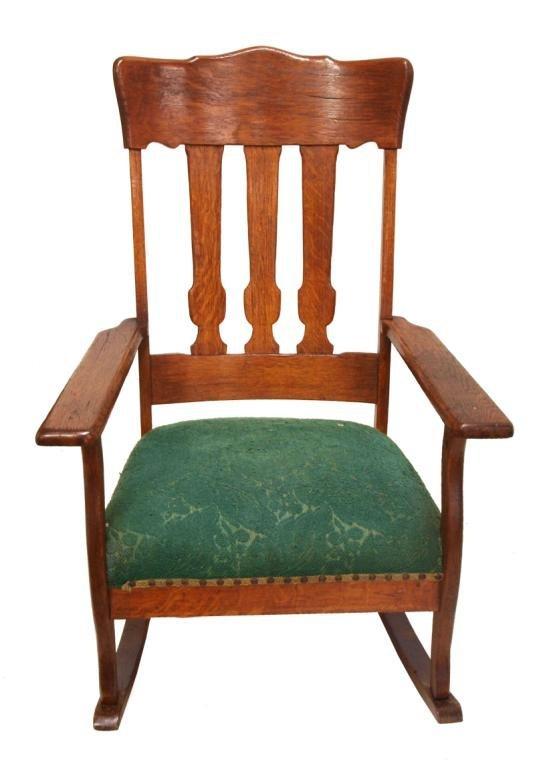 Antique American Oak Slat Back Rocking Chair Lot 48