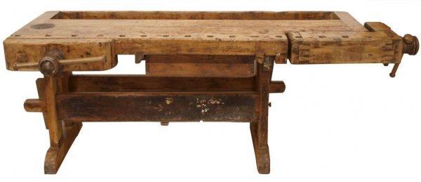 antique wood workbench
