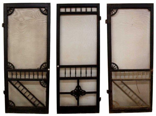 Vintage Wood Screen Door : Antique wood frame screen doors in black paint lot
