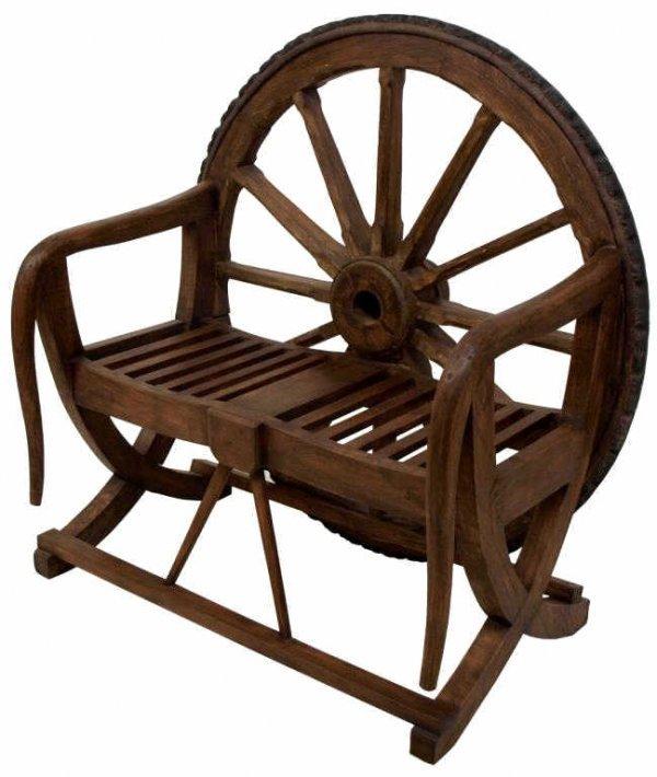 Rustic Antique Wagon Wheel Hall Bench Lot 64