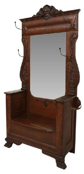 Oak Hall Tree with Mirror and Bench