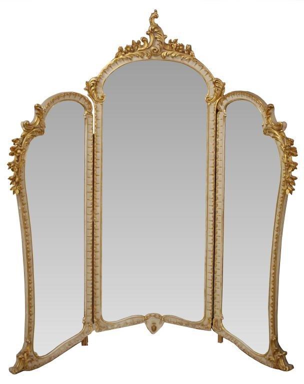 256 large italian gilded tri fold dressing mirror lot 256 for Tri fold mirror