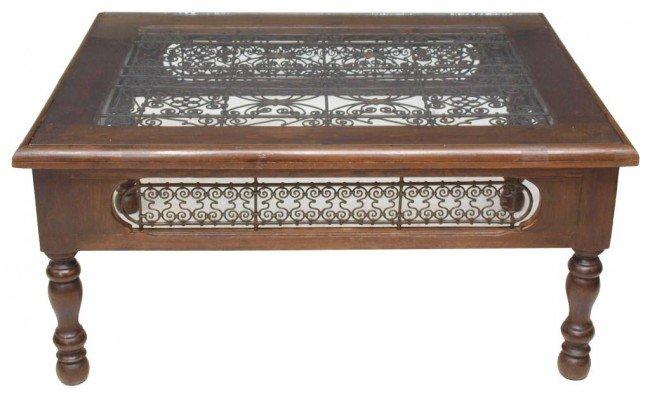 33 Large Moroccan Wood Metal Glass Top Coffee Table Lot 33