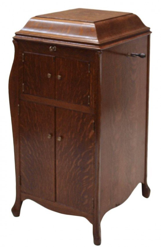 64: VICTROLA CABINET RECORD PLAYER, OPERATING
