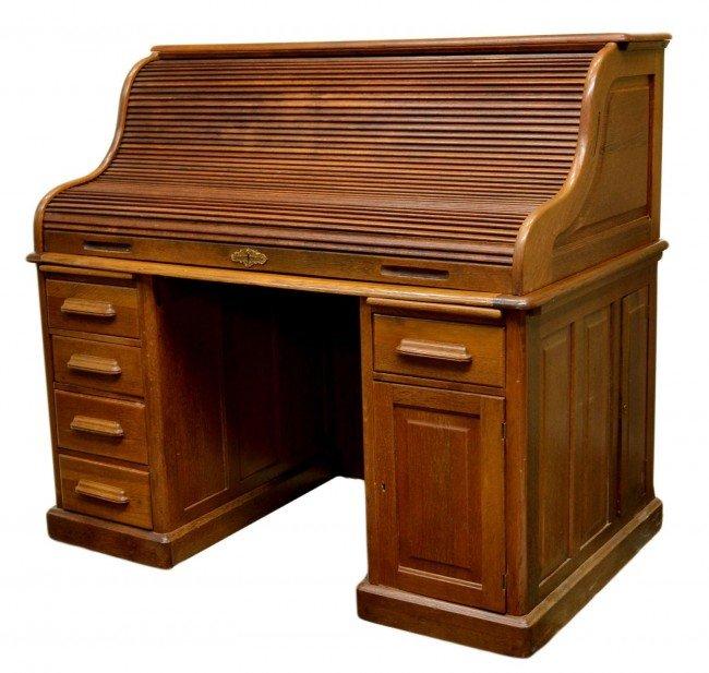 254 Antique American Oak Roll Top Desk Lot 254