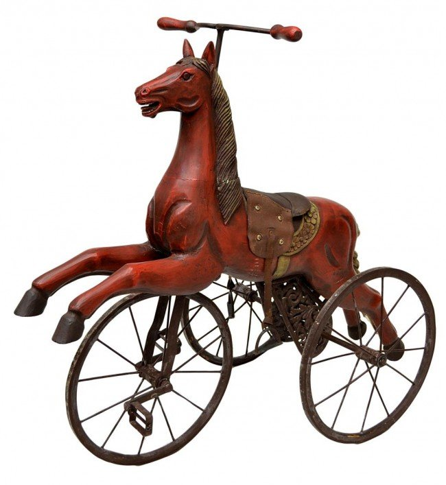 Dorothy Draper Chairs 324: ANTIQUE STYLE CARVED WOOD HORSE TRICYCLE : Lot 324