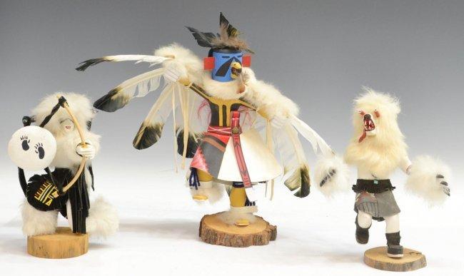 49 3 signed native american kachina dolls lot 49