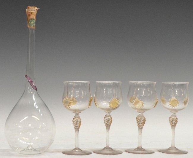 316 5 venetian art glass liquor bottle stemware lot 316 for Liquor bottle art