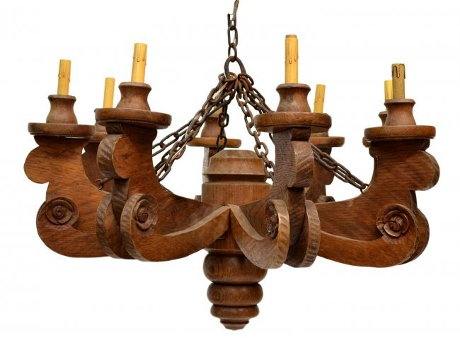 629 French Country Style 8 Light Wood Chandelier Lot 629