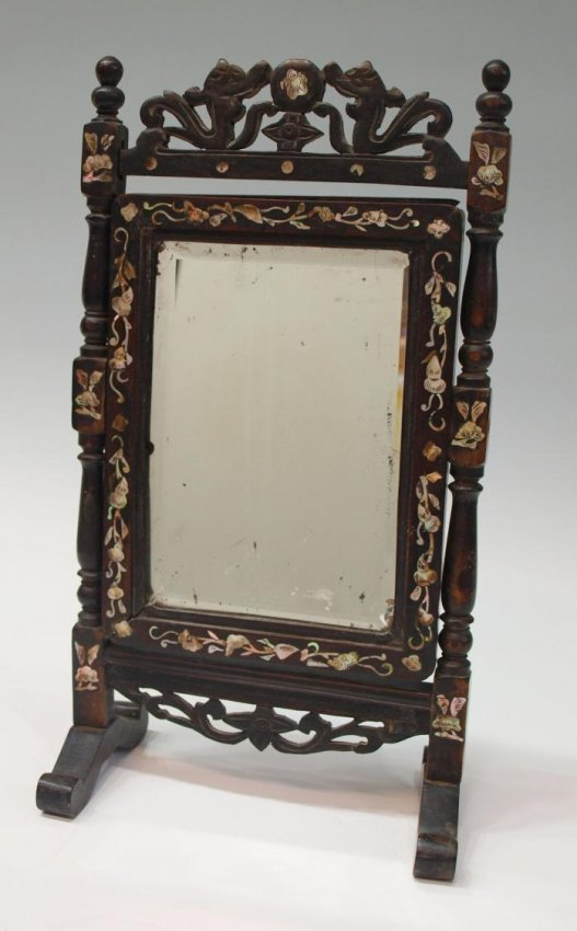 684 antique chinese inlaid rosewood standing mirror lot 684 for Antique standing mirror