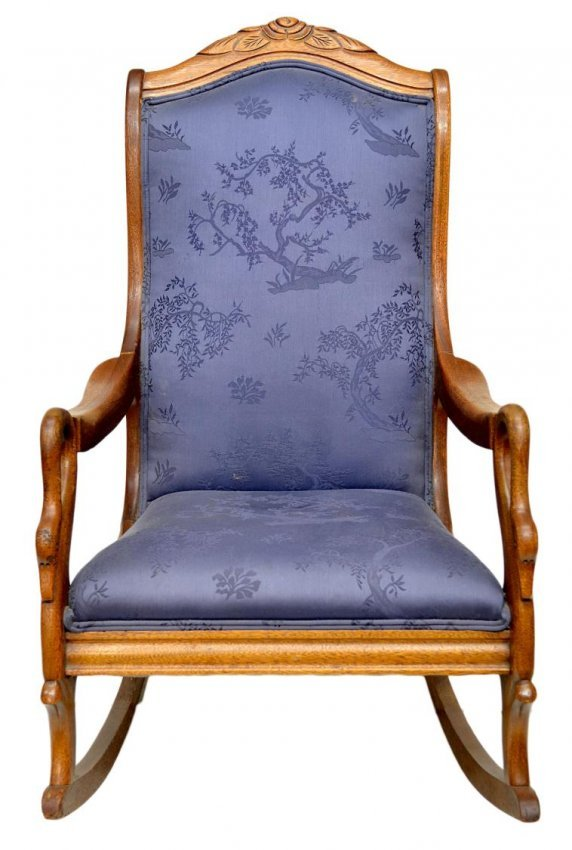 rocking chair, early 20th c., with foliate carved crest, swan arm ...