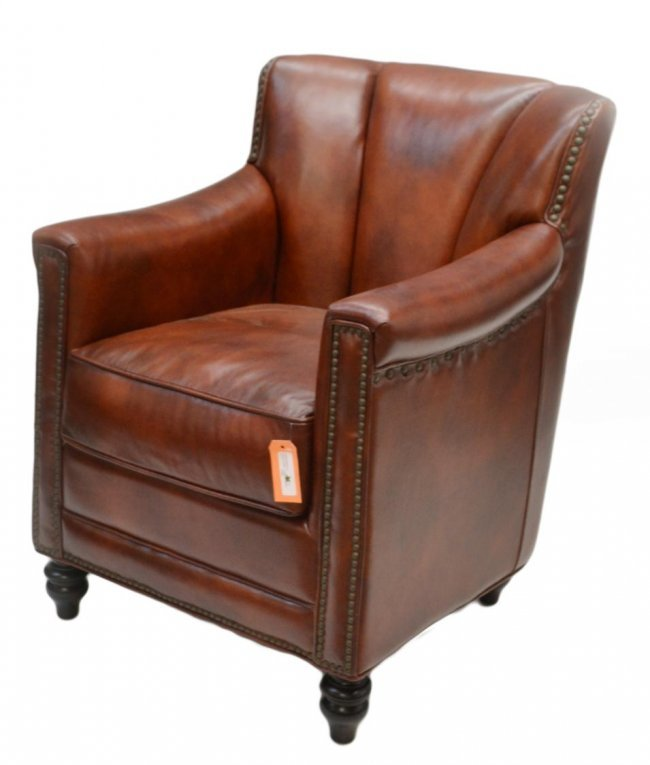 """50 COGNAC COLOR """"GIBSON"""" LEATHER CLUB CHAIR Lot 50"""