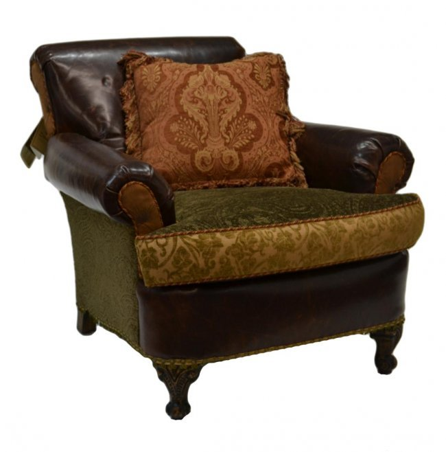 202 Rich Brown Leather Amp Fabric Club Chair Lot 202