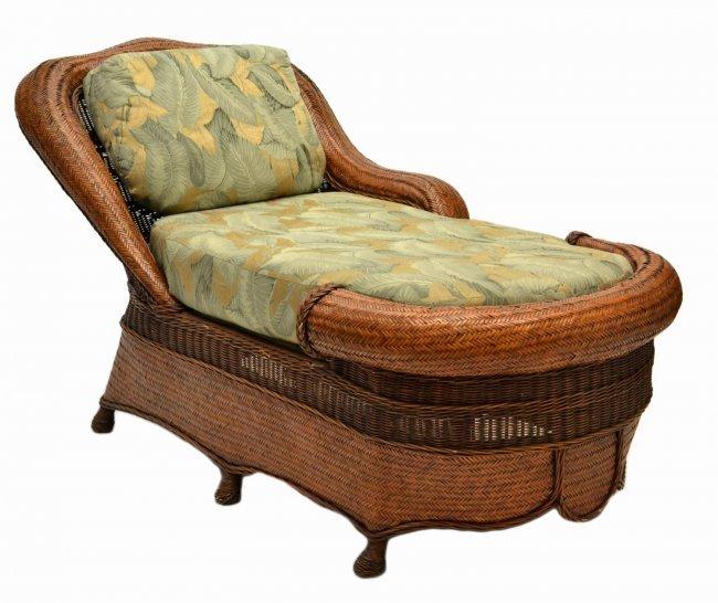 34 Custom Design Rattan Chaise Lounge Chair Lot 34