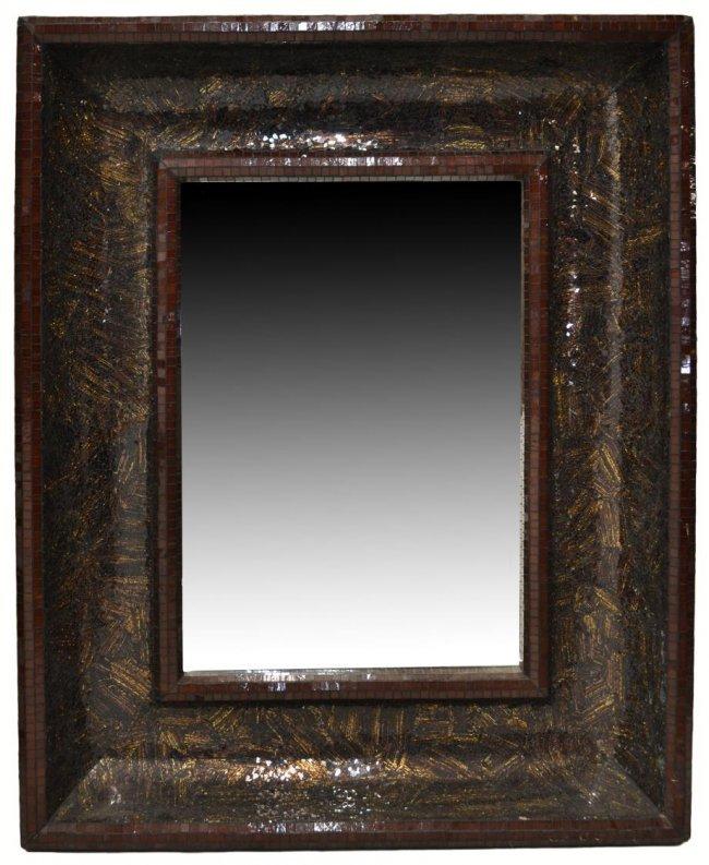 46 Large Mosaic Glass Tile Beveled Wall Mirror Lot 46