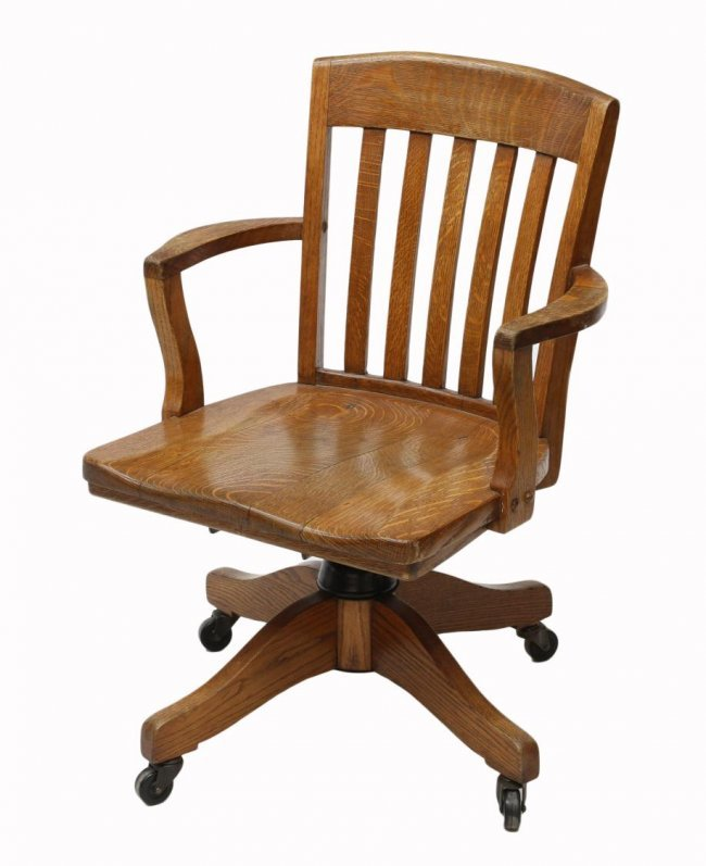 AMERICAN OAK SWIVEL OFFICE CHAIR MURPHY CHAIR CO Lot 63
