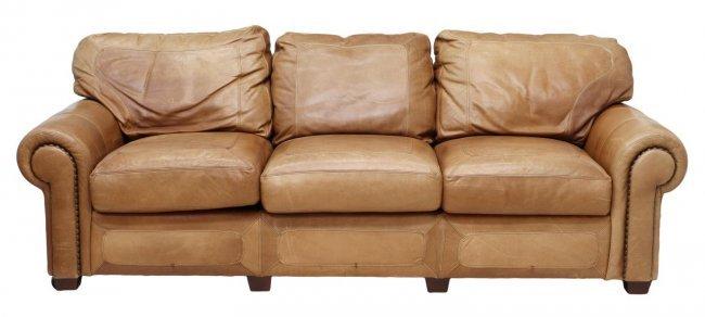 Oversized Leather Sleeper Sofa Nail Head Trim Lot 189