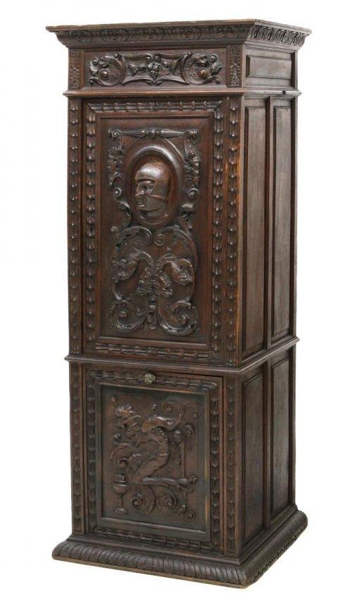 Antique renaissance revival relief carved cupboard lot