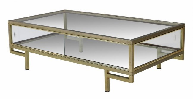 Italian Brass Glass Display Coffee Table Lot 384