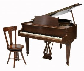 2 Mahogany Baby Grand Piano Stool Lot 379
