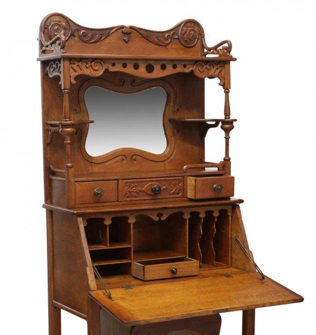 Furniture Companys: ANTIQUE AMERICAN OAK MIRRORED SECRETARY : Lot 353