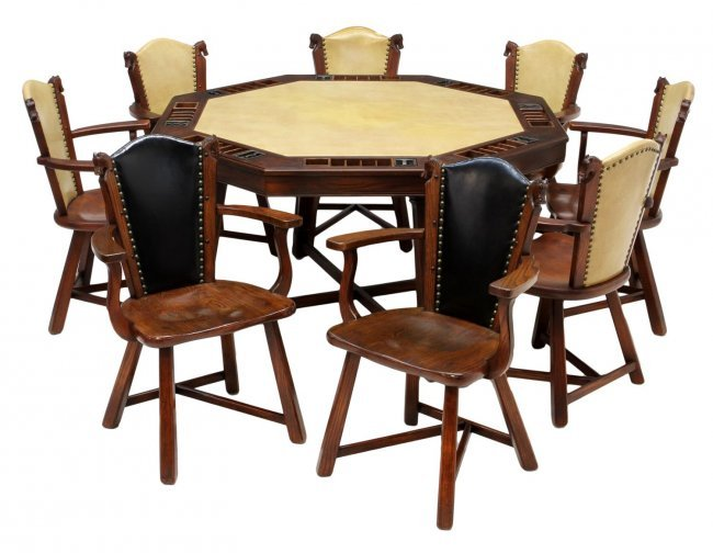 9 ROMWEBER HORSE HEAD CHAIRS & POKER TABLE Lot 197