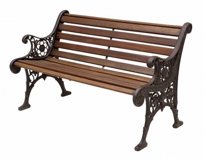 Vintage cast iron wood garden bench lot 211 - Wood and iron garden bench ...