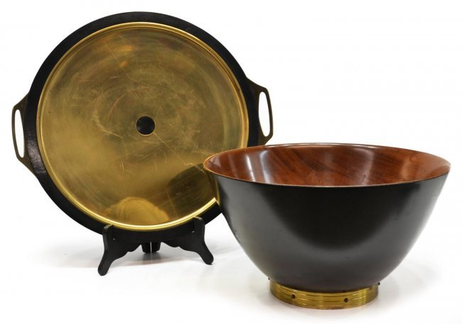 Mid century modern centerpiece bowl tray lot