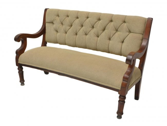 Georgian Style Button Back Upholstered Bench Lot 486