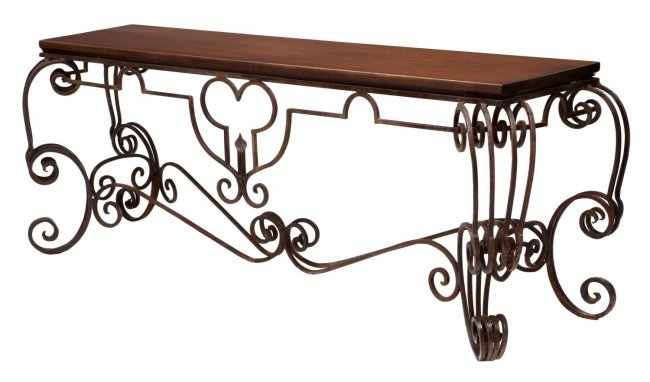 Ornate wrought iron base console table lot 794 for Wrought iron sofa table base