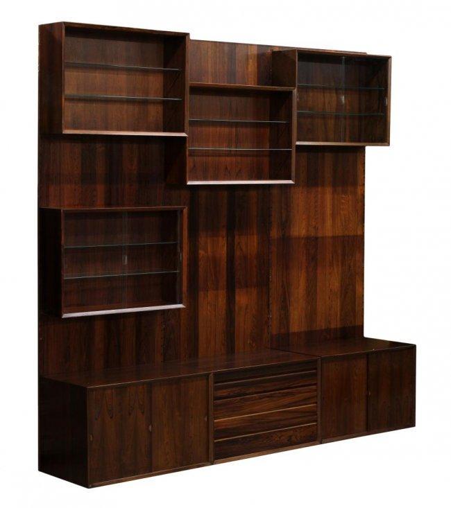 danish mid century modern rosewood wall unit lot 184. Black Bedroom Furniture Sets. Home Design Ideas