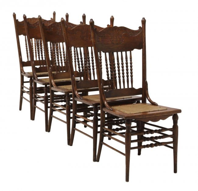 American pressed back oak side dining chairs lot