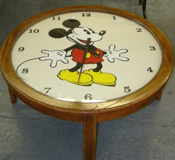 1709 mickey mouse clock coffee table lot 1709 Coffee table with clock