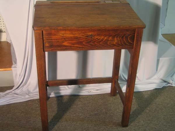 248: OAK SCHOOL DESK W/BRASS INKWELL : Lot 248 Vintage School Desk With - Antique School Desk Inkwell Antique Furniture