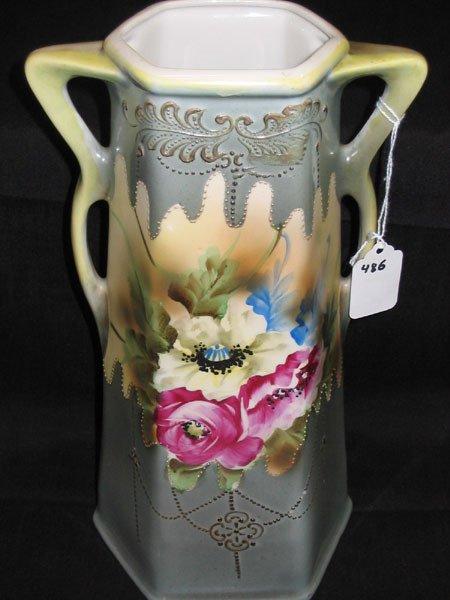 320 Royal Nippon Moriage Nishiki Hexagonal Vase Ver