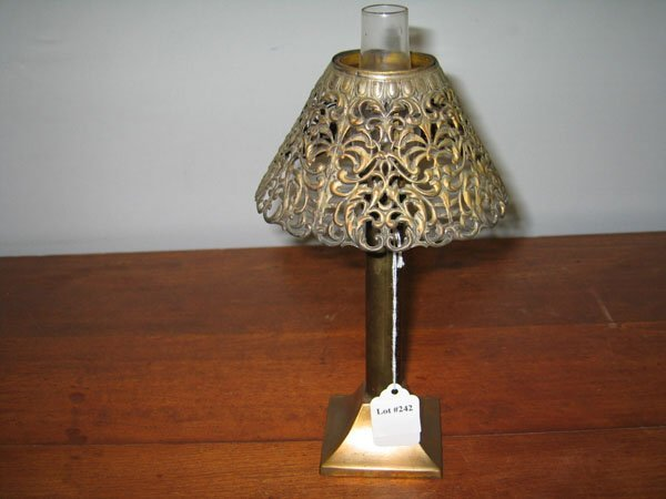 Vanity Light Wood Metal With Punched Tin Lamp Shades: 242: OIL LAMP W/METAL BASE W/PIERCED TIN FILIGREE SHADE