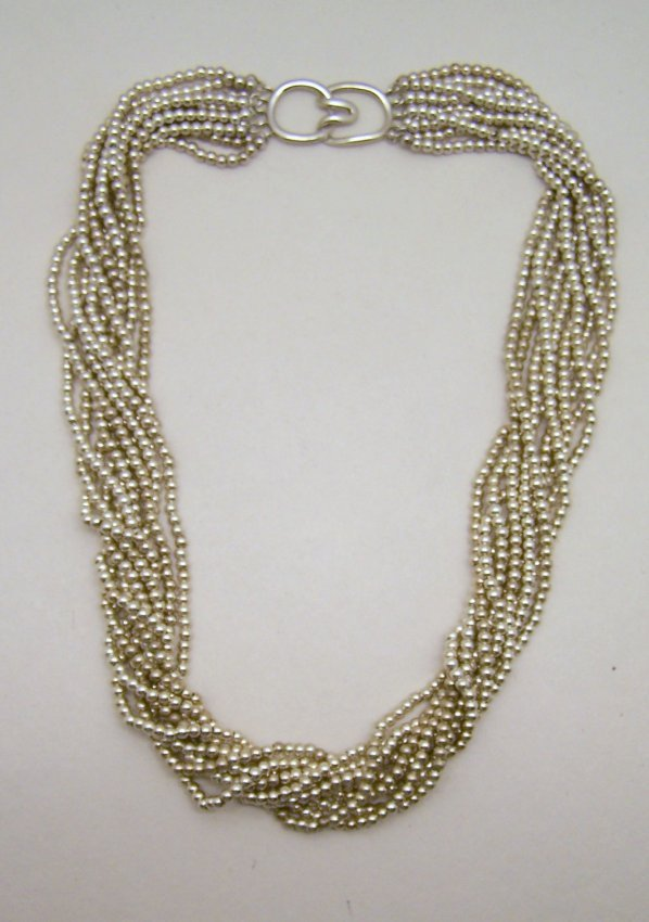 co sterling silver multi strand bead necklace