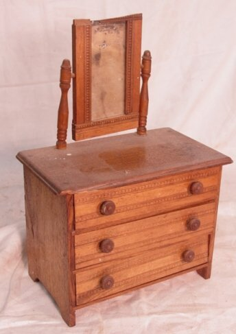 373 oak doll bureau with mirror lot 373 for Bureau with mirror